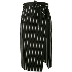 Balenciaga Balenciaga Striped Wrap Skirt ($500) ❤ liked on Polyvore featuring skirts, black, striped skirt, front slit skirt, stripe skirt, cotton wrap skirt and tie waist skirt