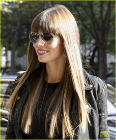 Love her bangs and long hair