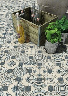 WORLD PARKS: Retiro 31,6x31,6cm. | Pavimento | Azulejo de color Azul  | VIVES Azulejos y Gres S.A. #retro #style #tile