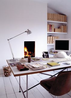 Home Office Design, Pictures, Remodel, Decor and Ideas - page 7 Home Office with a Fireplace ? Great design with the backdrop of color with . Home Office Space, Home Office Design, Home Office Decor, Home Decor, Office Designs, Office Ideas, Office Style, Office Furniture, Workspace Design
