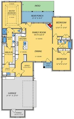 1498 sq ft Small House with Giant Living Area - floor plan - Main Level Acadian House Plans, Southern House Plans, New House Plans, Dream House Plans, Southern Homes, Small House Plans, Unique House Plans, The Plan, How To Plan