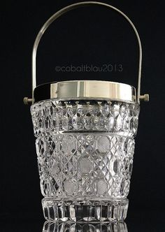 60s Ice bucket Lead crystal glass Mid century by cobaltblau2013, $99.95