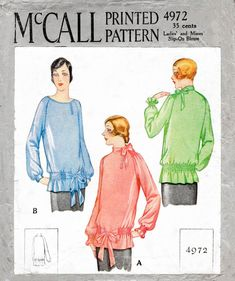 McCall 4972 1920s 1927 flapper era blouse drop waist shirring detail raglan sleeves vintage sewing pattern reproduction