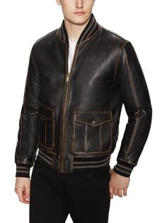 Canal Distressed Leather Bomber Jacket