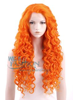 """Long Curly 26"""" Orange Lace Front Synthetic Fashion Wig - this one is less natural, but if I wanted to go for a more cartoon-ish Merida it could work"""