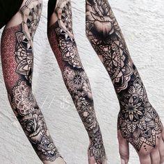 Sleeve & Hand tattoo by @jessicasvartvit at Rabauke Tattoo in Ulm Germany…
