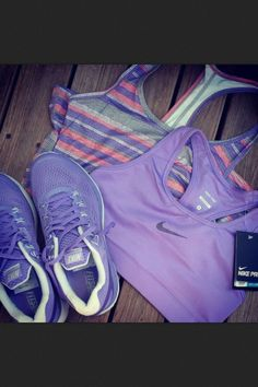 Purple Nike exercise clothes