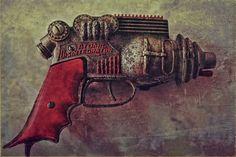 Atomic Disentigrator Ray Gun Steampunk Relic  1950'S Atomic Disentigrator Ray Gun photograph with grunge processing