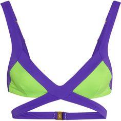 Agent Provocateur Mazzy cutout triangle bikini top ($154) ❤ liked on Polyvore featuring swimwear, bikinis, bikini tops, bikini, swimsuit, colorblock, purple, swimsuit tops, color block bikini and cut out bikini top