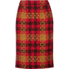 Miu Miu Checked wool-tweed skirt (12.768.130 IDR) ❤ liked on Polyvore featuring skirts, red, pencil skirts, red knee length skirt, miu miu skirt, tweed pencil skirt and checkered skirt