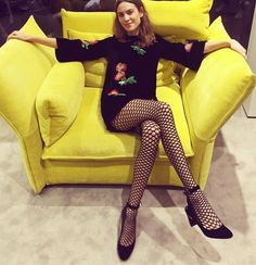 Alexa Chung just wore the most amazing tights from Wolford, and we need a pair immediately. Click here to see and shop the look!