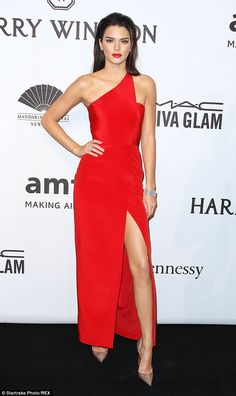 Painting the town red! Kendall Jenner looked runway ready in thigh-high split gown at amfA...