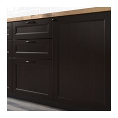 IKEA LAXARBY door The solid wood frame adds stability and makes the door durable and long lasting. Cosy Kitchen, New Kitchen, Veneer Panels, Brown Art, Black Kitchens, Drawer Fronts, Wood Veneer, Cabinet Doors, Decoration