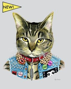 Cat art print - Punk Rock Cat