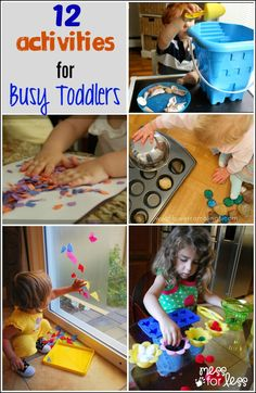 12 Activities for Busy Toddlers from The Kids Weekly Co-Op - ways to play with and engage an on-the-go toddler.