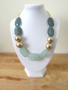 Gold and Blue Chunky Statment Necklace on Etsy, $32.00