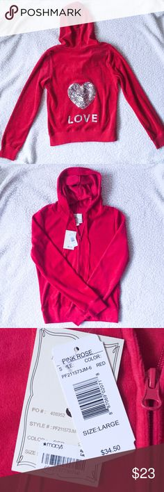 ❤️NWT Cute sequin red zip hoodie. Sz Large ❤️ Excellent condition. NEW Pink Rose Jackets & Coats