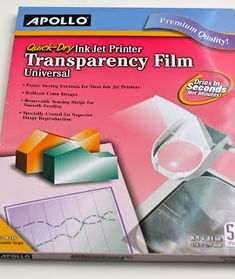 Apollo Quick Dry Universal Ink Jet Printer Film, x 11 Inch Sheets, 50 Sheets per Box Licht Box, Vape Tricks, Inkjet Printer, Presentation Design, Apollo, Colour Images, Quick Dry, Lettering, Printers