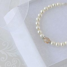 Ivory Pearl Bridal Bracelet with Golden Shadow by LRichardsDesign