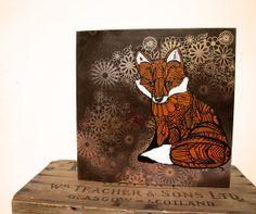 Fox Zentangle Original Acylic Painting  on Wood - Ombre - Red Fox -Flora - Intricate - Wall Art
