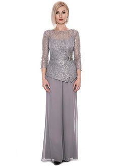 61b837f34f4 Magbridal Graceful Pant Suits Lace   Chiffon Bateau Neckline Full-length  Mother Of The Bride Dresses