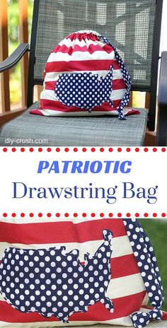 Patriotic Drawstring Bag DIY with links to the free drawstring bag tutorial and the USA template | DIY Crush
