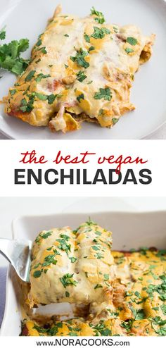"Seriously the best Vegan Enchiladas! With homemade plant based ""meat"" and vegan … Seriously the best Vegan Enchiladas! With homemade plant based ""meat"" and vegan cheese sauce, these are the ultimate, easy to make vegan enchiladas! Vegan Mexican Recipes, Vegan Dinner Recipes, Whole Food Recipes, Vegetarian Recipes, Cooking Recipes, Healthy Recipes, Mexican Cooking, Vegan Vegetarian, Vegan Enchiladas"
