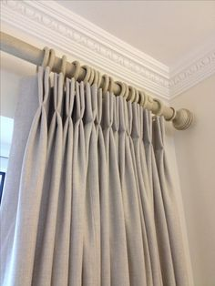 Interlined linen curtains with crisp double French pleats hung from a 50mm pole, from Simply Soft Furnishings by Julie Hughes