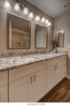 4 Reliable Sources To Learn About Bathroom Cabinets Las Vegas - Beautiful bathroom counter top with cream colored cabinets . Guest Bathroom Remodel, Budget Bathroom, Bathroom Renovations, Kitchen Remodel, Bathroom Ideas, Modern Bathroom, Blue Granite Countertops, Bathroom Countertops, Bathroom Cabinets