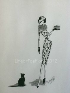 Fashion Illustration 1950s Leopard Wiggle Dress by LinearFashions