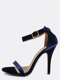 96ce12902b69 Open Toe Velvet Ankle Strap Heels NAVY -SheIn(Sheinside) Navy Blue High  Heels