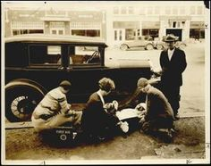 """Photograph used for a story in the Daily Oklahoman newspaper. Caption: """"First Aiders, circa 1930."""""""