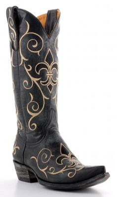827c0b37eeddf I see Courtney getting these boots just for the the fleur de lis - Womens  Old Gringo Evelyn Boots Black