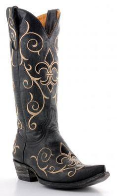 Fleur de list cowboy boots. Womens Old Gringo Evelyn Boots Black #L905-2. Close enough to blue. $489.99