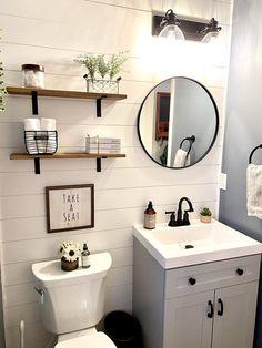 Half Bathroom Remodel, Half Bathroom Decor, Bathroom Renos, Bathroom Interior Design, Budget Bathroom, Bathroom Small, Decorating Small Bathrooms, Small Bathroom Makeovers, Shiplap Master Bathroom