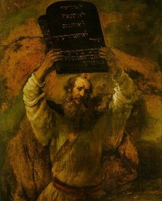 Moses with the Ten Commandments, Rembrandt van Rijn ca. From the brush of the master, one of the most powerful images in Western art: Moses, seeing the Hebrews worshiping the golden calf, raises the ten commandments to smash them on the rocks. Leiden, List Of Paintings, Art Paintings, Arte Judaica, Golden Calf, Art Occidental, Google Art Project, Moise, Dutch Golden Age