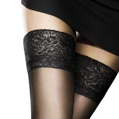 Aristoc Sensuous Stockings 10 Denier Floral Lace Topped Black Stockings BNIB