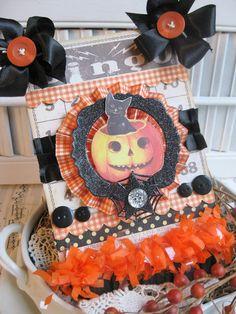 vintage style large THICK bingo card black cat pumpkin handmade plaque sign decoration