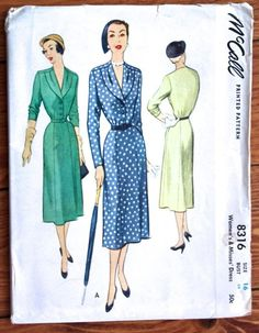 1950 Vintage McCall Printed Pattern 8316 Woman's Draped Neckline Dress Bust 34