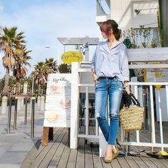 GUヌキ襟たっぽりシャツコーデとスタバの「チェリーざくざく」飲みました★ | aco official blog Powered by Ameba