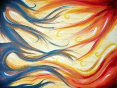 acrylic painting -- great concept of sorts for a painting! all the elements, fire wind water earth