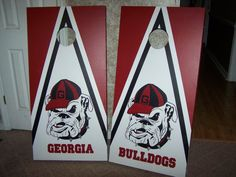 UGA Cornhole Boards by handmadesbyKaren on Etsy, $150.00 Hand painted artwork. No stickers no vinyl decals.