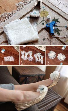 DIY Shoe Clips. http://ruffledblog.com/diy-shoe-clips-lace-flowers-pom/
