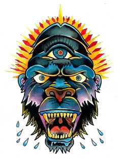 Traditional Tattoo Gorilla Painting