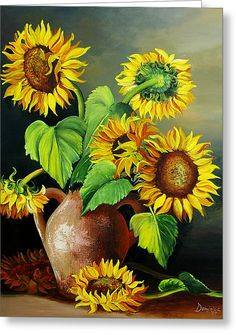 Sunflowers Greeting Card by Dominica Alcantara