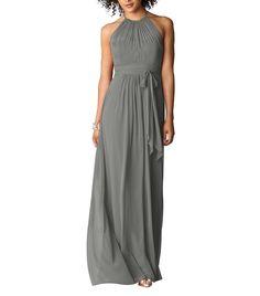 DescriptionAfter Six Style 6613Fulllength bridesmaid dressHalter necklineShirred bodiceSet in waistband with matching sashLux chiffon