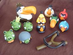 Chocolate Angry Birds - This is a set of Angry Birds figures that I made out of modeling chocolate for a friend's son's birthday party.