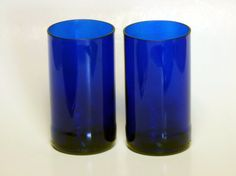 Cobalt Blue Glasses made from Upcycled by MidnightandMagnolias, $14.00
