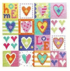 The Stitching Shed - A range of fun and contemporary cross stitch and tapestry needlepoint kits by designer Jayne Schofield. Cross Stitch Heart, Cross Stitch Cards, Simple Cross Stitch, Modern Cross Stitch, Cross Stitch Kits, Cross Stitch Designs, Cross Stitching, Cross Stitch Embroidery, Embroidery Patterns