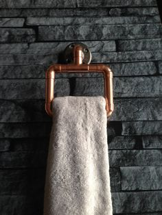 Towel rail hand towel rail copper industrial by CopperandBlonde